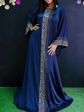 Ericdress Blue Dress Floor-Length Long Sleeve Round Neck Pullover Geometric Dress
