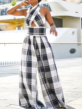 Ericdress Full Length Casual Plaid Slim High Waist Jumpsuit