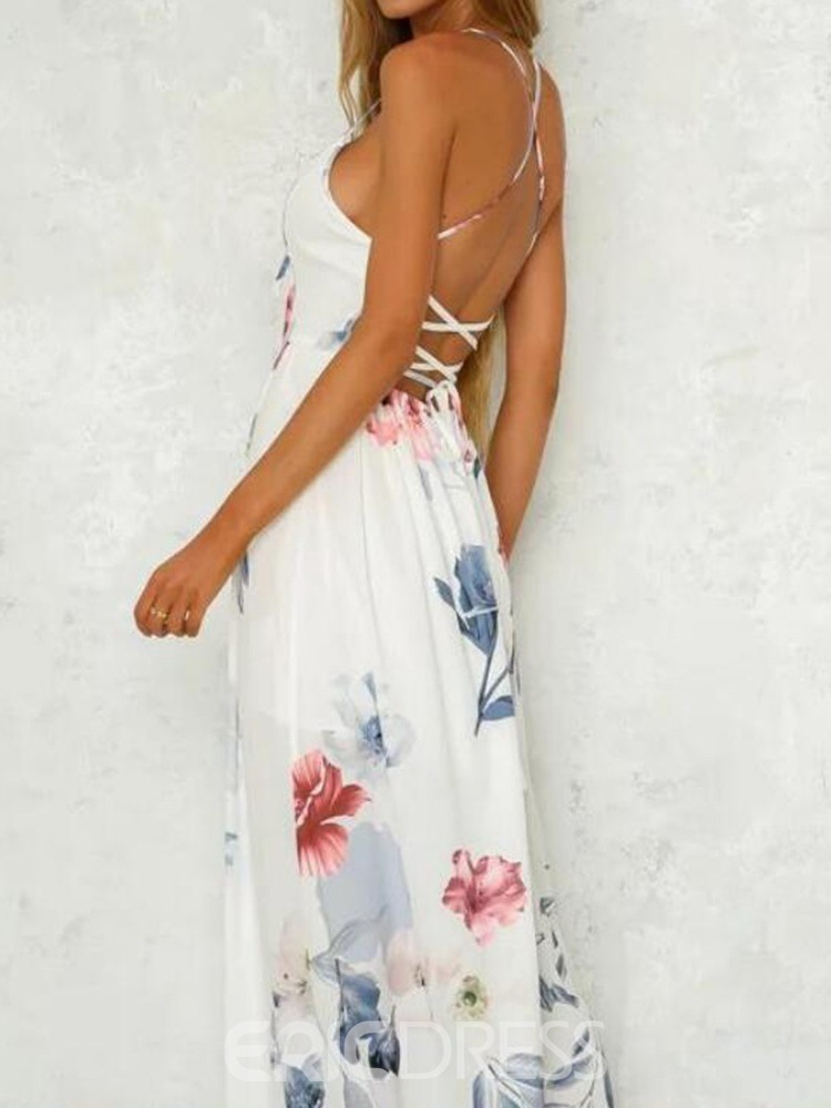 Ericdress V-Neck Backless Sleeveless Floral Spaghetti Strap Dress