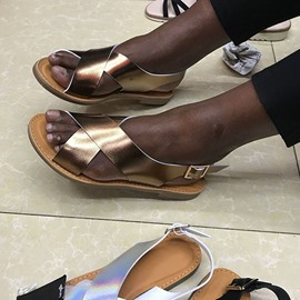 Ericdress Buckle Flat With Open Toe Casual Sandals