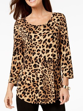 Ericdress Leopard Mid-Length Round Neck Loose Casual T-Shirt