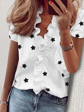 Ericdress Print Short Sleeve Standard Blouse