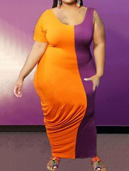 Ericdress Plus Size Short Sleeve Ankle-Length Scoop Pencil Pullover Dress