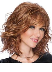 Ericdress Natural Looking Womens Medium Hairstyle Wavy Human Hair Lace Front Wigs With Bangs 16Inch