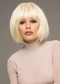 Ericdress Short Bob Hairstyle Women's 613 Blonde Straight Human Hair Lace Front Wigs With Bangs 10Inch
