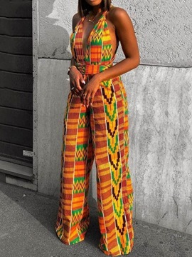 Ericdress Full Length Print Fashion High Waist Loose Jumpsuit