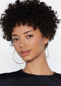 Ericdress African American Women's Short Afro Curly Human Hair Lace Front Cap Wig 8Inch