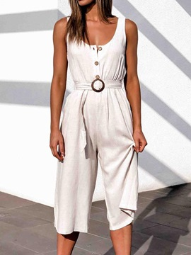 Ericdress Mid-Calf Casual Plain Wide Legs Loose Jumpsuit