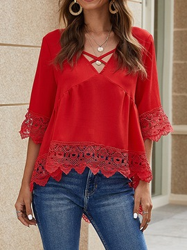 Ericdress Regular V-Neck Patchwork Three-Quarter Sleeve Mid-Length Blouse