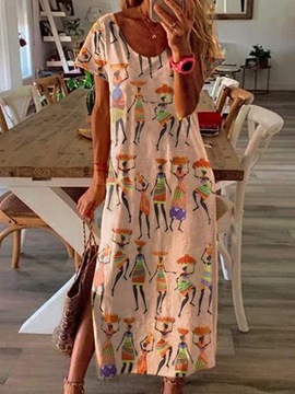 Ericdress Print Round Neck Ankle-Length Mid Waist Casual Dress