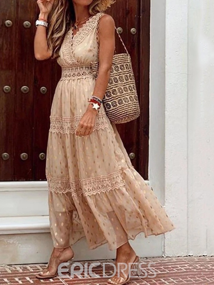 Ericdress Lace V-Neck Sleeveless Date Night/Going Out Polka Dots Dress