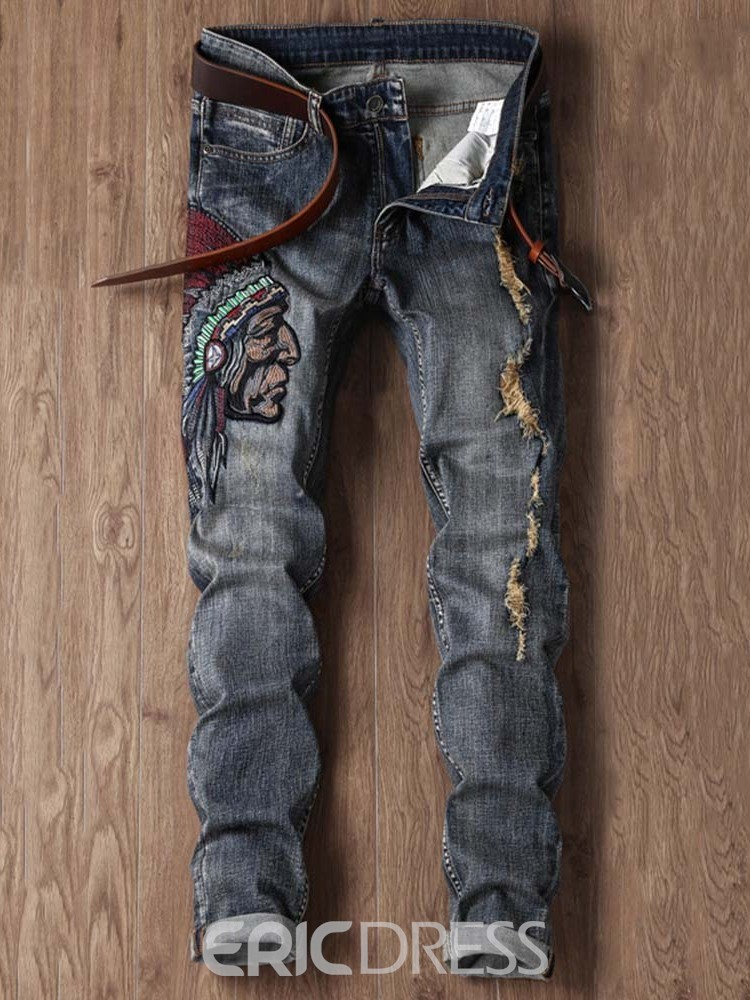 Ericdress Mid Waist Casual Jeans