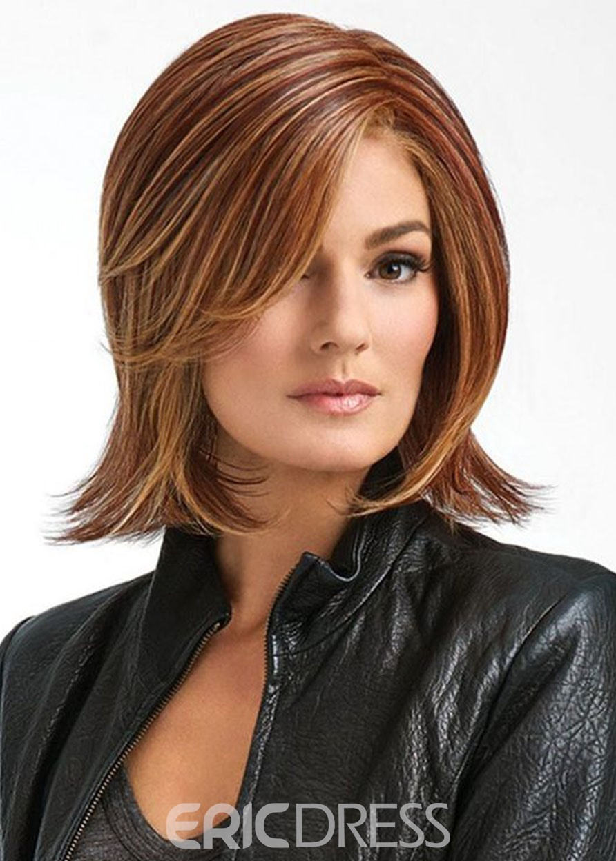 Ericdress Sexy Women Medium Hairstyle Side Part Straight Synthetic Hair Capless Wigs 12Inch