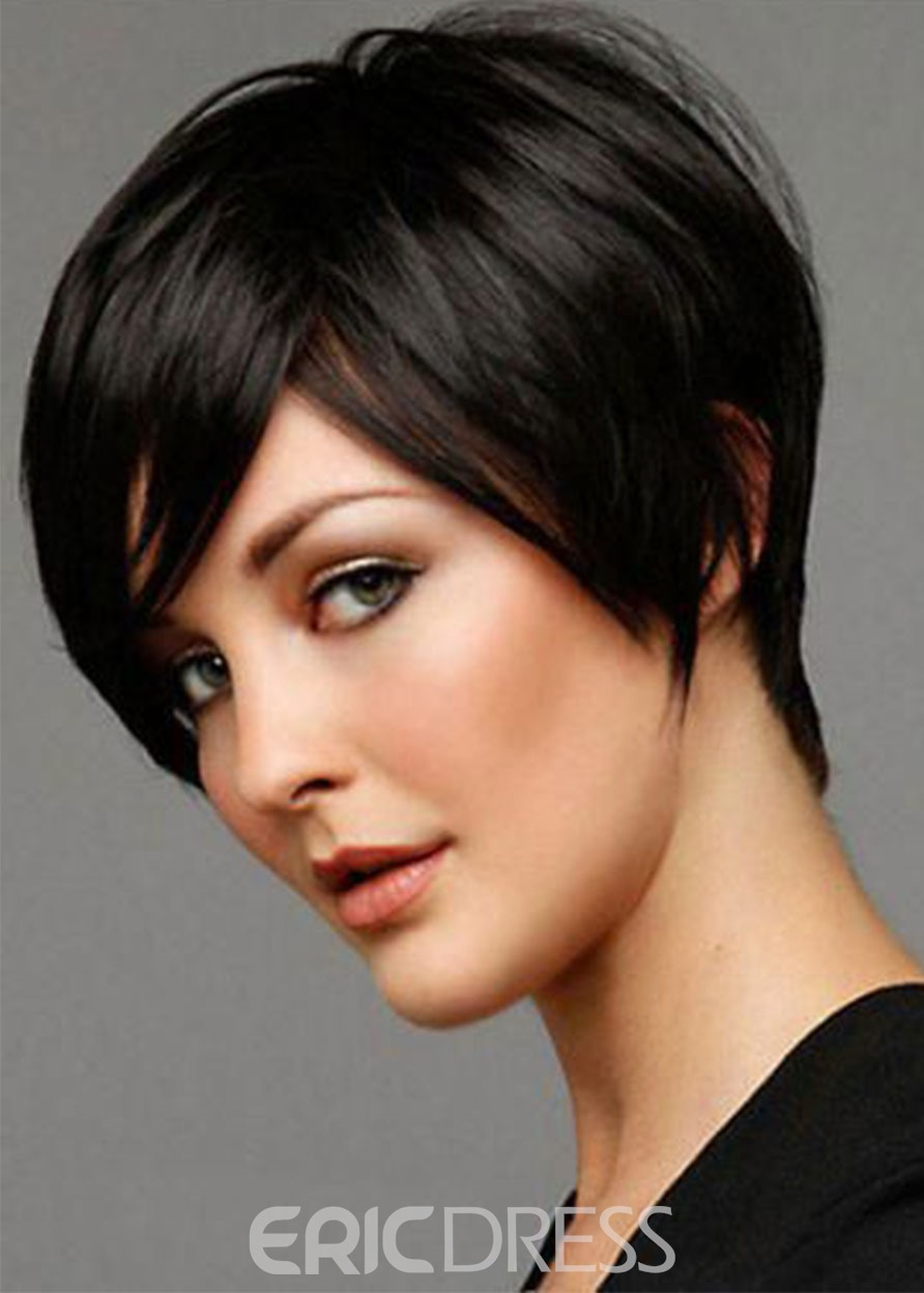 Ericdress Women's Short Choppy Hairstyles Straight Human Hair Wigs With Bangs Lace Front Cap Wigs 8Inch