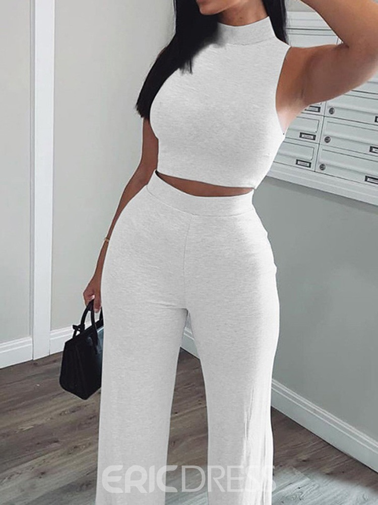 Ericdress Sexy Plain Vest Straight Stand Collar Two Piece Sets