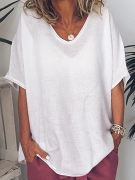 Ericdress Mid-Length Plain Half Sleeve Loose T-Shirt