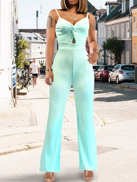Ericdress Plain Strap Full Length Slim Mid Waist Jumpsuit