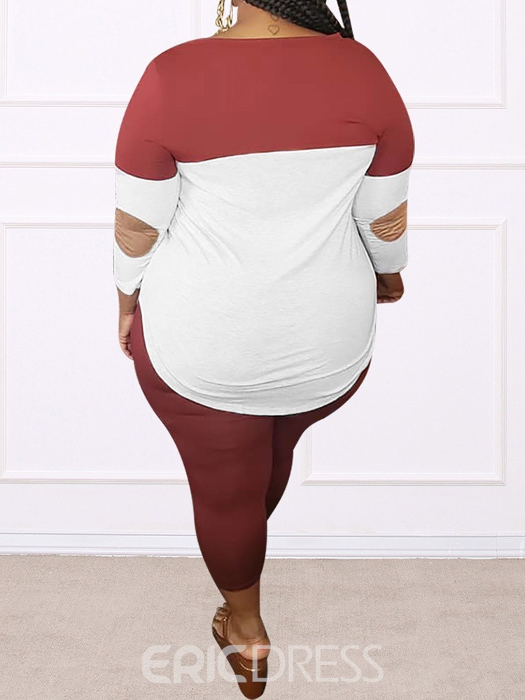 Ericdress Patchwork T-Shirt Casual Pencil Pants Pullover Two Piece Sets
