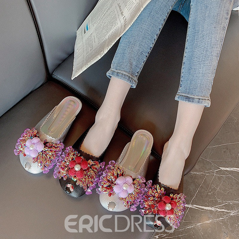 Ericdress Closed Toe Buckle Flat With Rubber Slippers