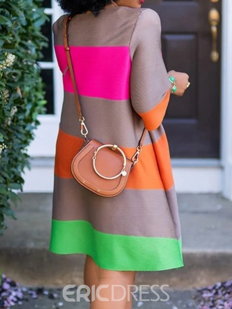 Ericdress Patchwork Above Knee Round Neck Color Block A-Line Dress