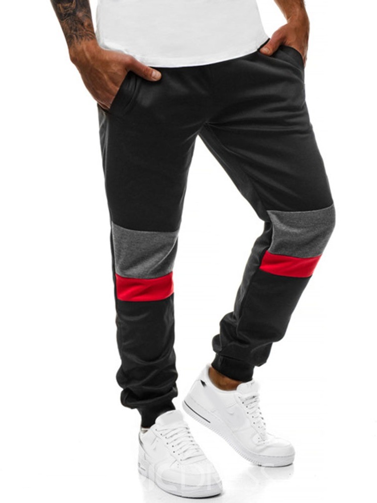 pantalones casuales ericdress color block sports spring