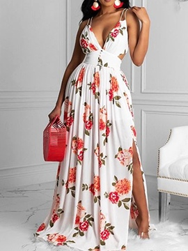 Ericdress Floor-Length V-Neck Split Floral A-Line Dress