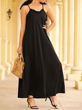 Ericdress Ankle-Length Stringy Selvedge Sleeveless High Waist Spaghetti Strap Dress