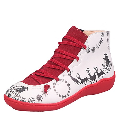 Ericdress Round Toe Side Zipper Flat With Print Boots