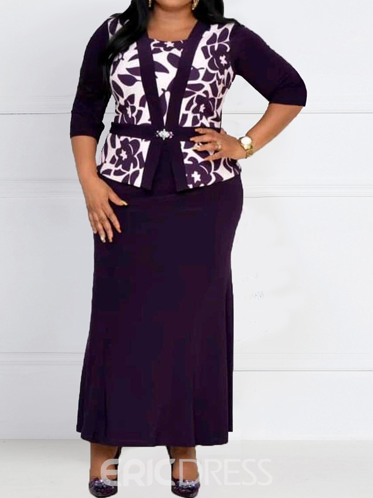 Ericdress Plus Size Patchwork Three-Quarter Sleeve Pullover Office Lady Dress