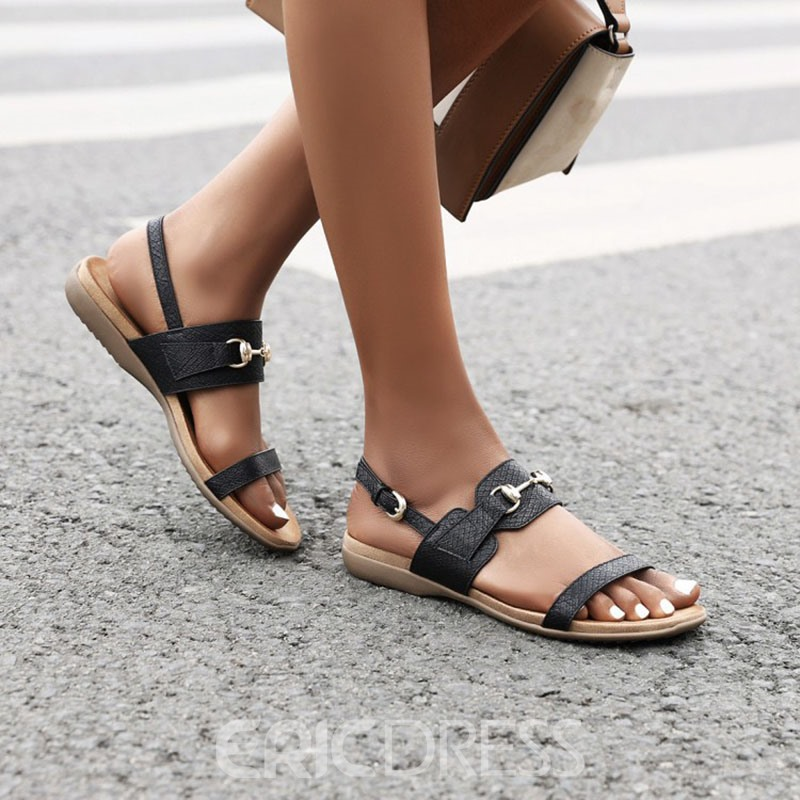 Ericdress Flat With Buckle Open Toe Casual Sandals