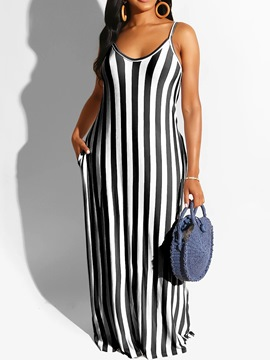 Ericdress Sleeveless Floor-Length Scoop Casual Stripe Dress
