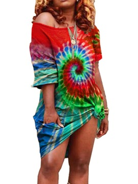 Ericdress Round Neck Tie-Dye Short Sleeve Regular Color Block Dress