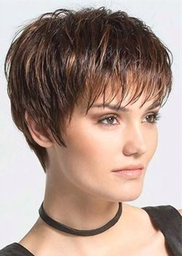 Ericdress Women's Pixie Cut Boy Cut Hairstyle Straight Synthetic Hair Wigs With Bangs Capless Wigs 6Inch
