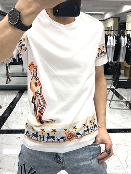 Ericdress Casual Print Round Neck Slim Short Sleeve T-shirt