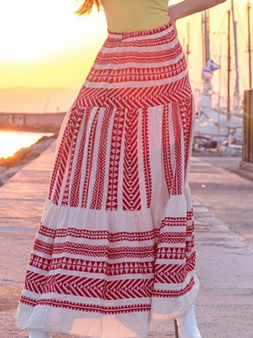 Ericdress A-Line Color Block Ankle-Length Travel Look Skirt