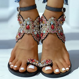 Ericdress Toe Ring Line-Style Buckle Flat With Casual Sandals