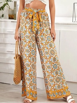 Ericdress Loose Geometric Lace-Up Wide Legs Mid Waist Casual Pants
