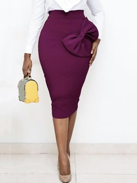 Ericdress Bowknot Pencil Skirt Plain Office Lady High Waist Skirt