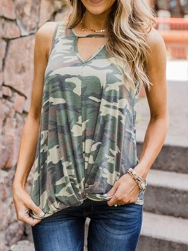 Ericdress Camouflage Sleeveless Standard Casual T-Shirt