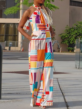 Ericdress Print Full Length Geometric Straight Mid Waist Jumpsuit