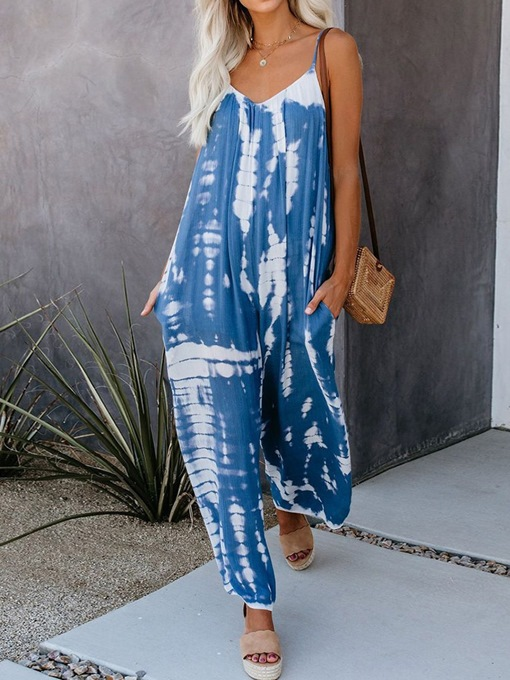 Ericdress Full Length Casual Strap Wide Legs Mid Waist Jumpsuit