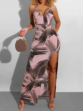 Ericdress V-Neck Print Sleeveless Spaghetti Strap Mid Waist Dress