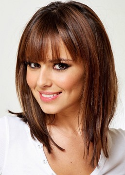 Women's Brown Color Medium Hairstyles Straight Human Hair With Bangs Lace Front Wigs 14Inch