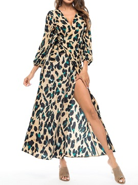 Ericdress V-Neck Ankle-Length Split Leopard A-Line Dress