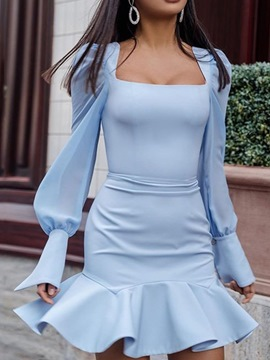 Ericdress Long Sleeve Pleated Square Neck Mid Waist Spring Dress