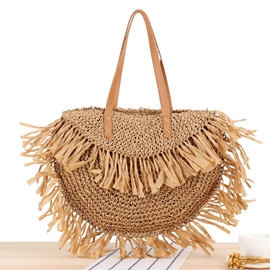 Ericdress Knitted Plain Grass Saddle Tote Bags