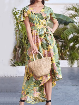 Ericdress Print Ankle-Length Short Sleeve Plant Asymmetrical Dress
