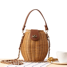 Ericdress Knitted Grass Barrel-Shaped Tote Bags