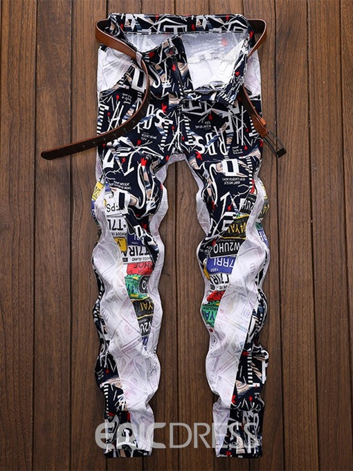 Ericdress Color Block Straight Patchwork European Mid Waist Jeans