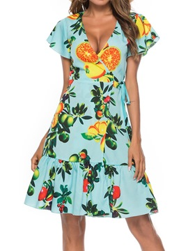 Ericdress V-Neck Short Sleeve Print Travel Look Dress